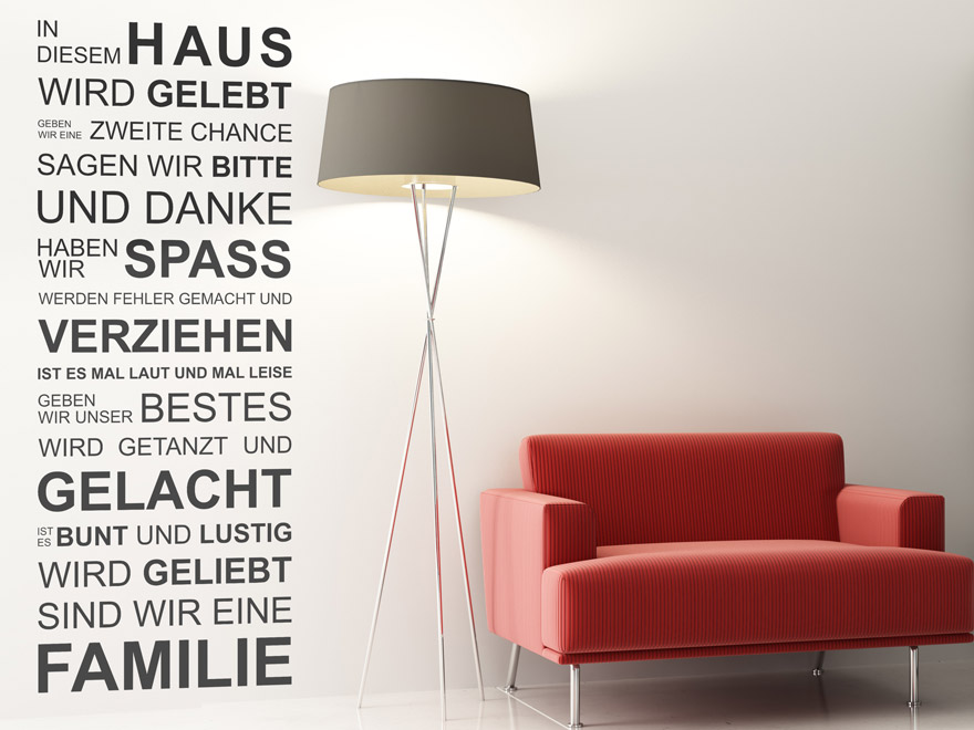 wandtattoo in diesem haus wird gelebt spruch von. Black Bedroom Furniture Sets. Home Design Ideas