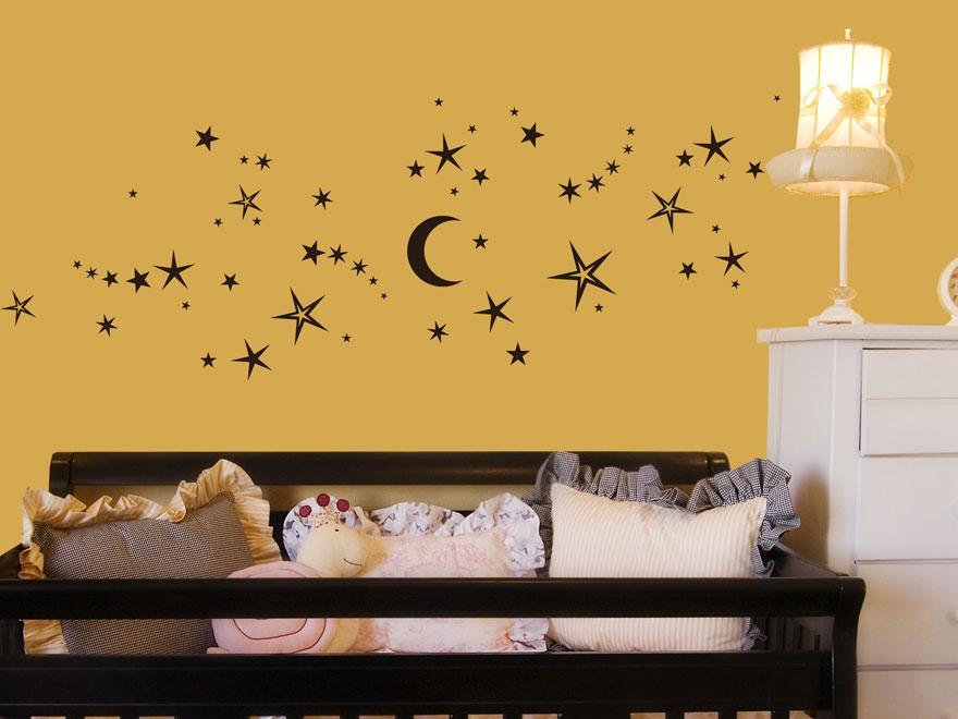 Wandtattoo nachthimmel mit sternen von - Wandtattoo sterne grau ...