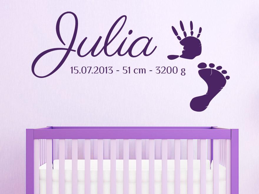 baby wandtattoo wunschname mit fu abdruck und geburtsdaten von. Black Bedroom Furniture Sets. Home Design Ideas