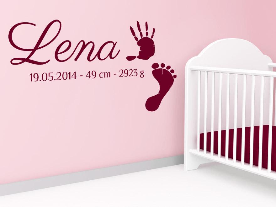 baby wandtattoo wunschname mit fu abdruck und geburtsdaten. Black Bedroom Furniture Sets. Home Design Ideas