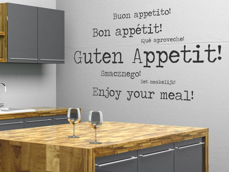 internationales guten appetit wandtattoo von wandtattoo.net - Wandtattoo Küche Guten Appetit