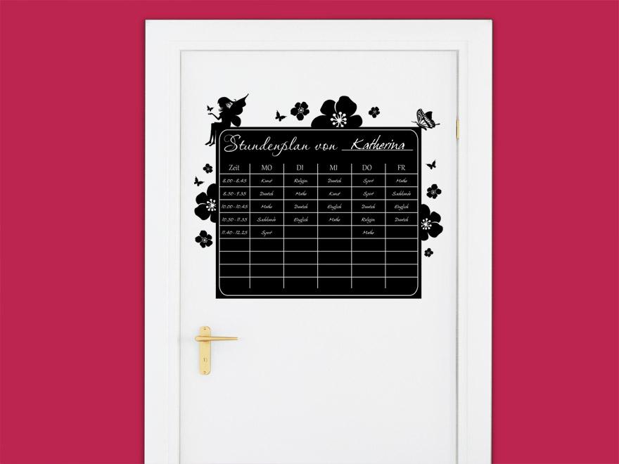 Wandsticker Wanddekoration Wohndeko Wohnzimmer Kinderzimmer Schlafzimmer Wand Aufkleber denoda/® Tafelfolie Wandtattoo Dunkelgr/ün 78 x 50 cm Stundenplan klassisch