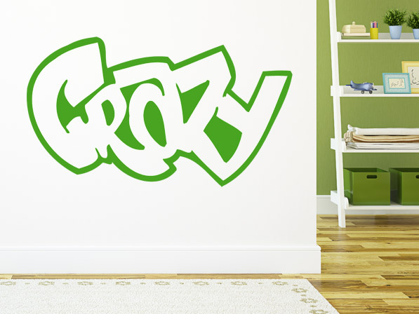 wandtattoo graffiti schriftzug crazy wandtattoo im graffiti look. Black Bedroom Furniture Sets. Home Design Ideas