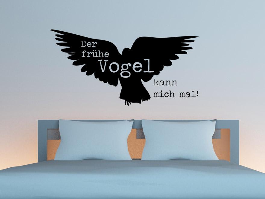 Ausgefallenes schlafzimmer wandtattoo der fr he vogel kann mich mal von - Vogel wandtattoo ...