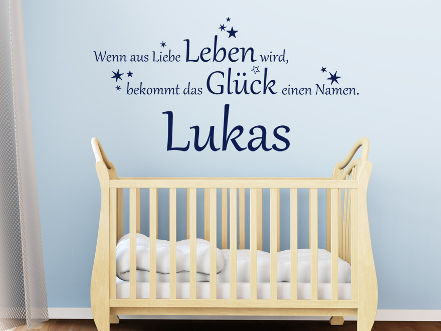 baby wandtattoo das gl ck mit wunschname von. Black Bedroom Furniture Sets. Home Design Ideas
