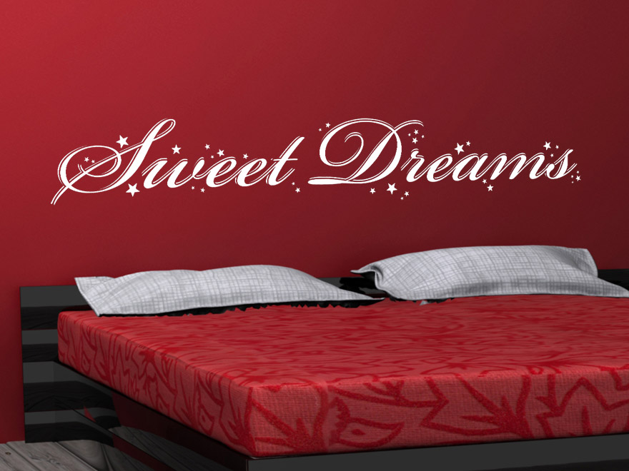 traumhaftes wandtattoo sweet dreams mit sternen von. Black Bedroom Furniture Sets. Home Design Ideas