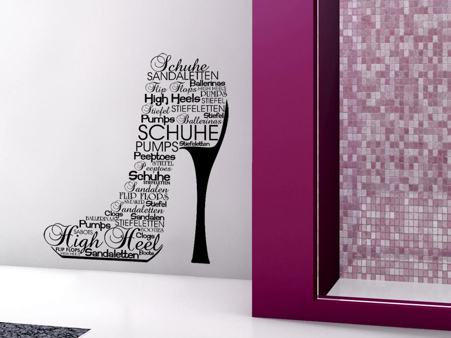 Schriften wandtattoo schuh im badezimmer
