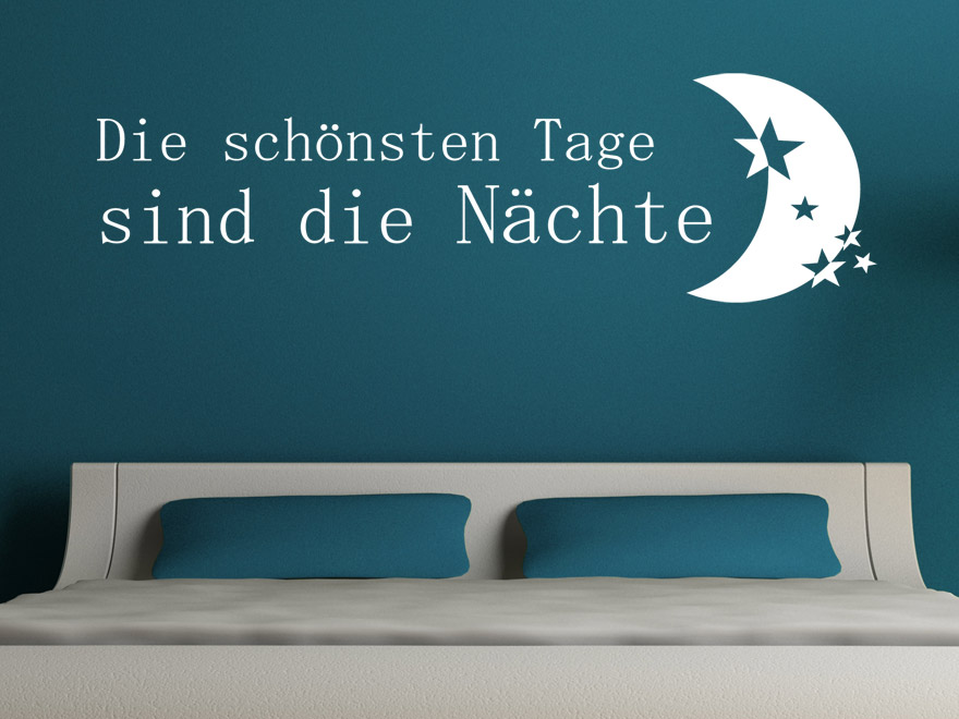 wandtattoo spruch die sch nsten tage sind die n chte wandtattoos f r das schlafzimmer. Black Bedroom Furniture Sets. Home Design Ideas