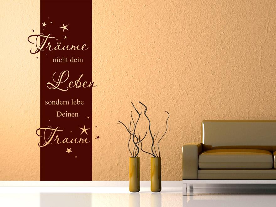 banner tr ume nicht dein leben wandbanner spruch von. Black Bedroom Furniture Sets. Home Design Ideas
