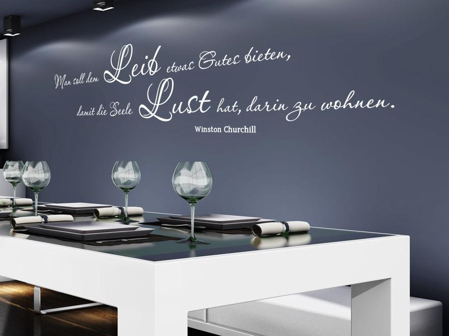 wandtattoo zitat man soll dem leib etwas gutes tun zitat winston churchill von. Black Bedroom Furniture Sets. Home Design Ideas