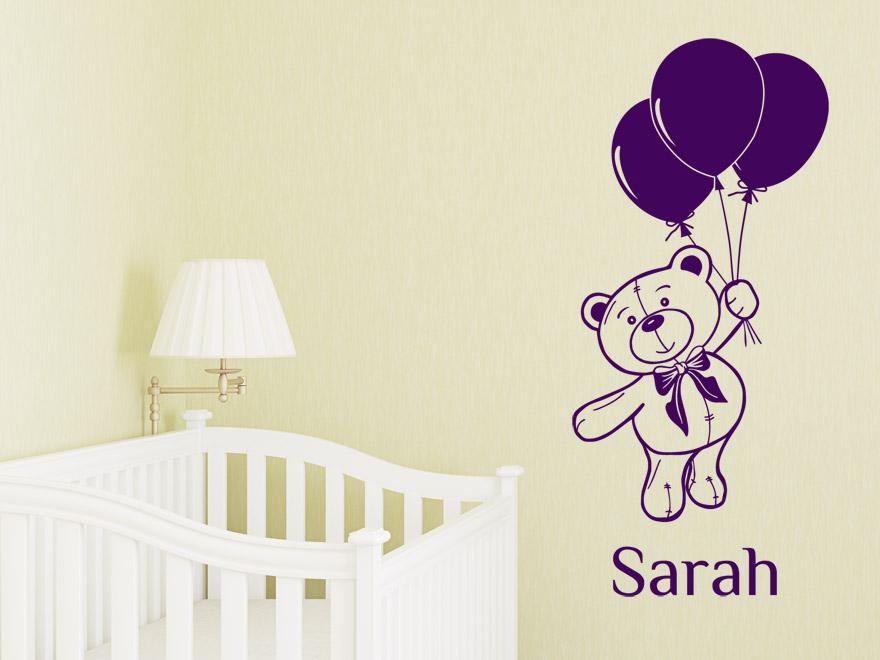baby wandtattoo teddyb r mit wunschnamevon. Black Bedroom Furniture Sets. Home Design Ideas