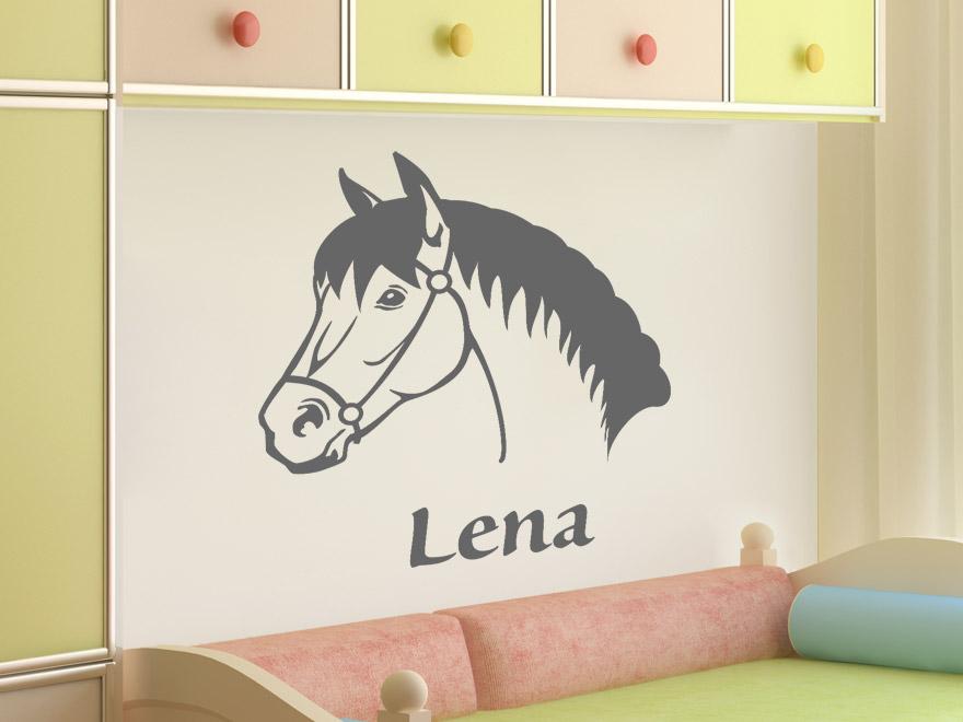 kinder wandtattoo pferdekopf mit wunschname von. Black Bedroom Furniture Sets. Home Design Ideas