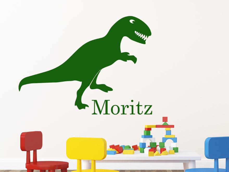 Dinosaurier wandtattoo dino mit wunschname von - Wandtattoo dino ...