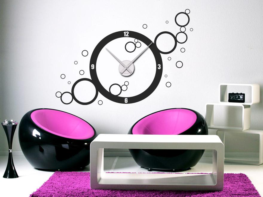 wandtattoo uhr retro kreise wanduhr von. Black Bedroom Furniture Sets. Home Design Ideas