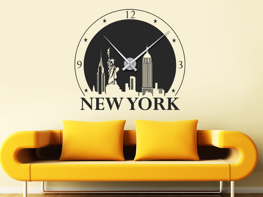 Elegant Wandtattoo Uhr New York