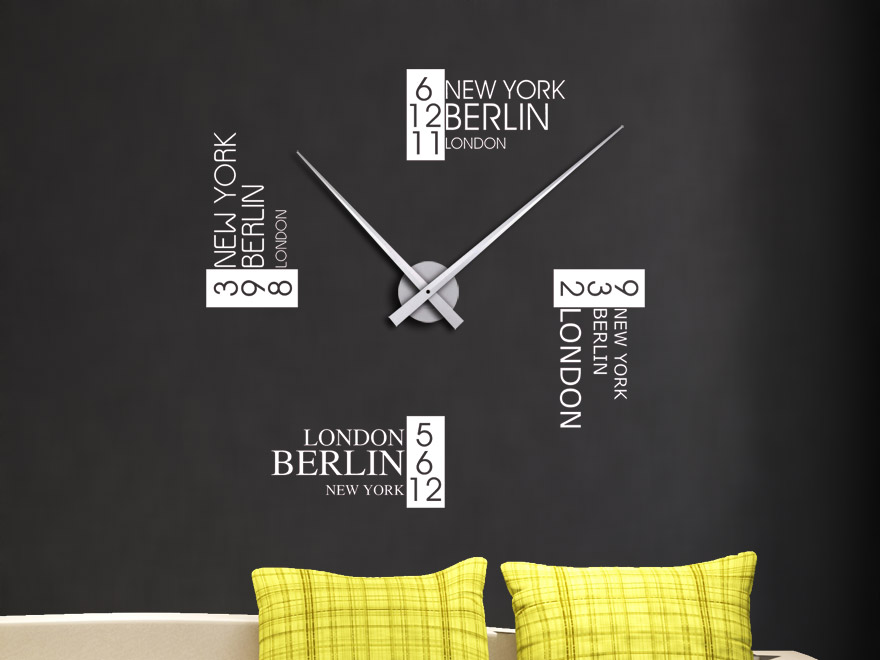 wandtattoo uhr zeitzonen wanduhr von. Black Bedroom Furniture Sets. Home Design Ideas