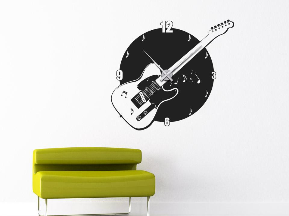 wandtattoo uhr musik wanduhr gitarre von. Black Bedroom Furniture Sets. Home Design Ideas