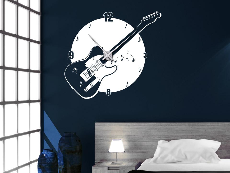 Wandtattoo Uhr Musik Wanduhr Gitarre Von Wandtattoo Net