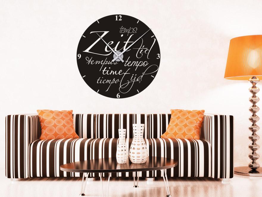 wandtattoo uhr zeit sprachen wanduhr von. Black Bedroom Furniture Sets. Home Design Ideas
