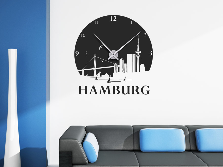 wandtattoo uhr hamburg wanduhr von. Black Bedroom Furniture Sets. Home Design Ideas
