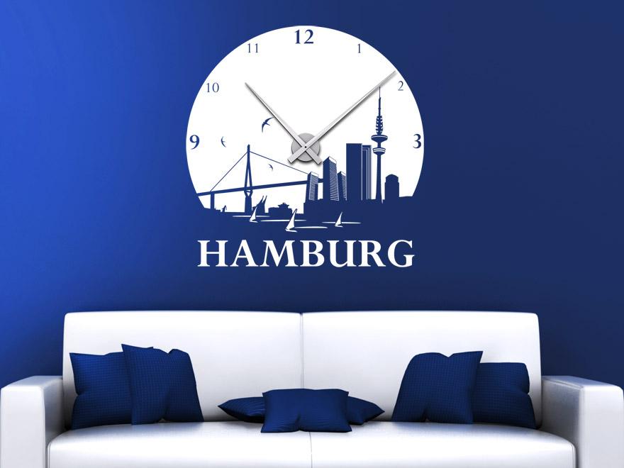 wandtattoo uhr hamburg wanduhr von. Black Bedroom Furniture Sets. Home Design Ideas