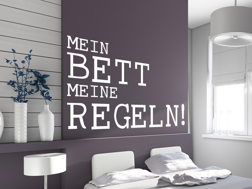 Wandtattoo Spruch Mein Bett ... In Weiß Im Schlafzimmer ...