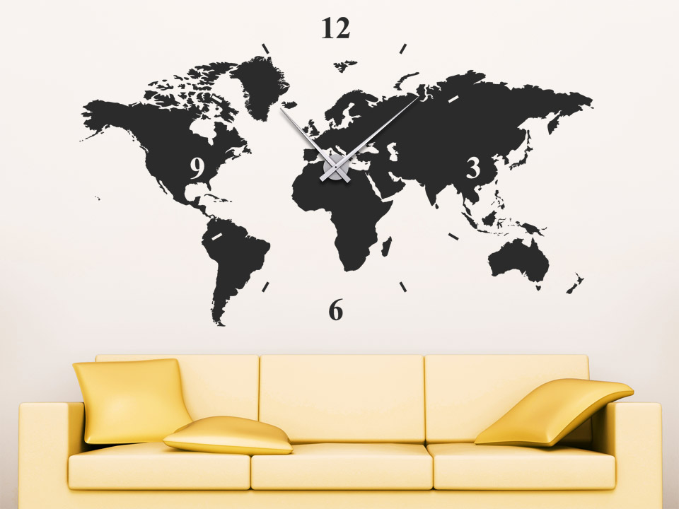 wandtattoo uhr weltkarte wanduhr welt von. Black Bedroom Furniture Sets. Home Design Ideas