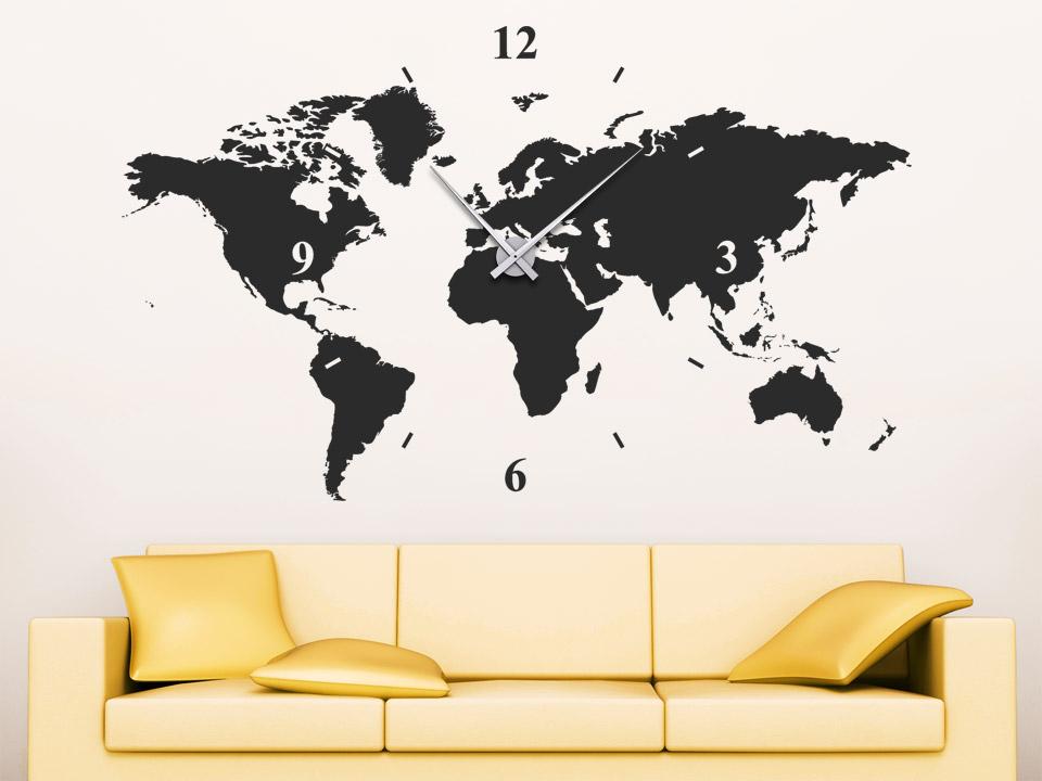 Wandtattoo Uhr Weltkarte Wanduhr Welt von Wandtattoo.net