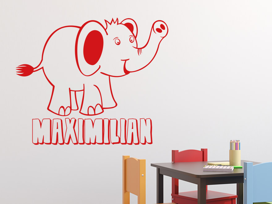 wandtattoo elefant mit wunschname von. Black Bedroom Furniture Sets. Home Design Ideas
