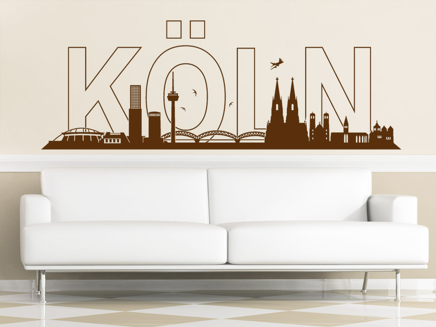 stadt wandtattoo k ln skyline wandtattoo von. Black Bedroom Furniture Sets. Home Design Ideas