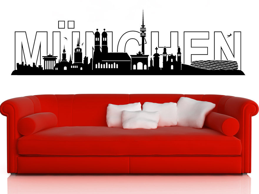 stadt wandtattoo m nchen skyline von. Black Bedroom Furniture Sets. Home Design Ideas