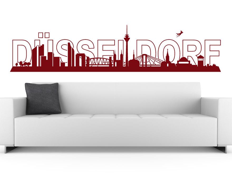 stadt skyline wandtattoo d sseldorf skyline von. Black Bedroom Furniture Sets. Home Design Ideas