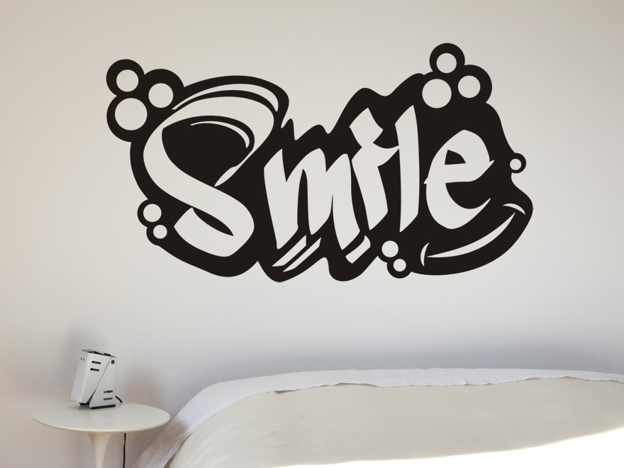 wandtattoo schriftzug smile von. Black Bedroom Furniture Sets. Home Design Ideas