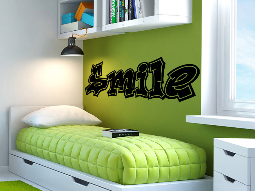 wandtattoo graffiti schriftzug smile von. Black Bedroom Furniture Sets. Home Design Ideas