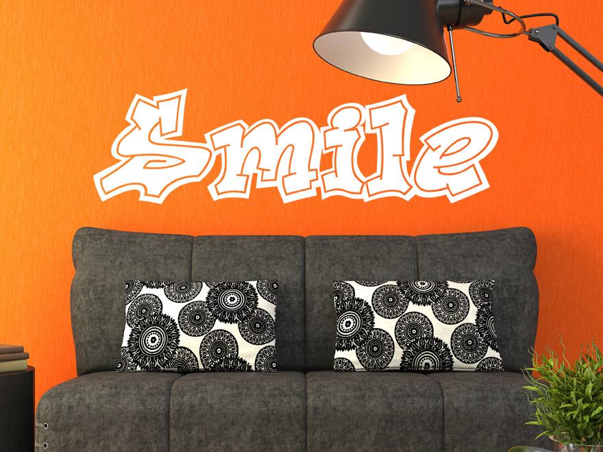 wandtattoo graffiti schriftzug smile von. Black Bedroom Furniture Sets. Home Design Ideas
