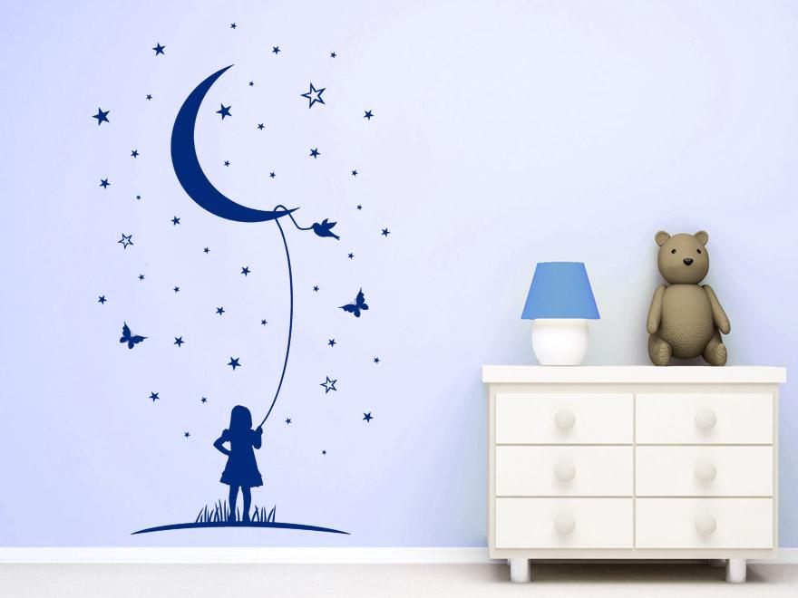 Sterne wandtattoo mond phantasie babyzimmer wandtattoo von - Wandtattoo mond ...