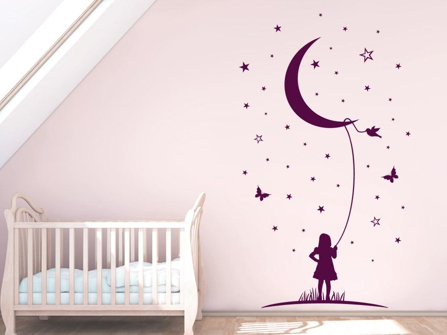 Babyzimmer wandtattoo mädchen  Sterne Wandtattoo Mond Phantasie Babyzimmer Wandtattoo von ...