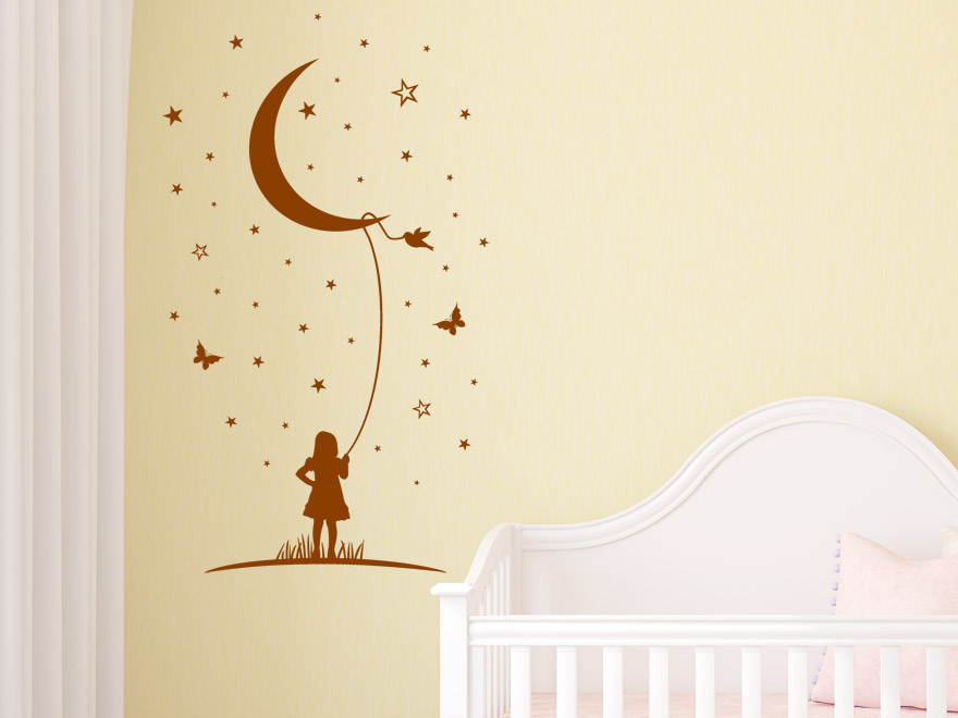 sterne wandtattoo mond phantasie babyzimmer wandtattoo von. Black Bedroom Furniture Sets. Home Design Ideas