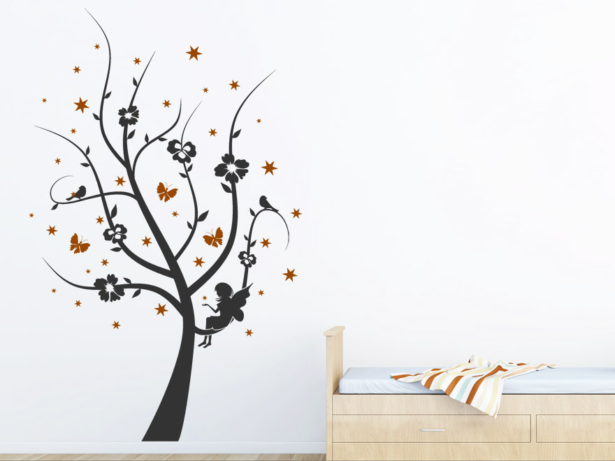 zweifarbiges kinder wandtattoo zauber baum mit sternen von. Black Bedroom Furniture Sets. Home Design Ideas