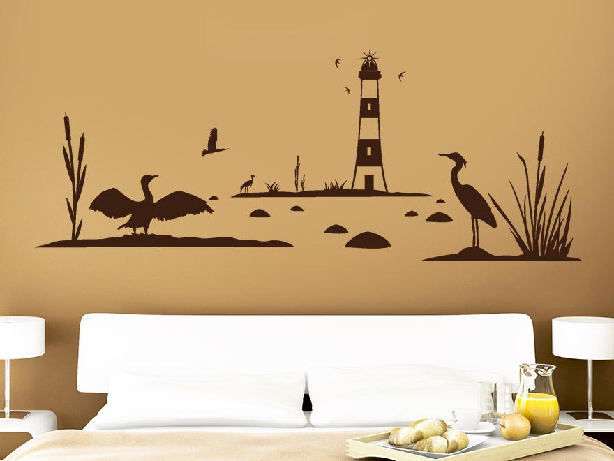 wandtattoo schilf landschaft mit leuchtturm von. Black Bedroom Furniture Sets. Home Design Ideas