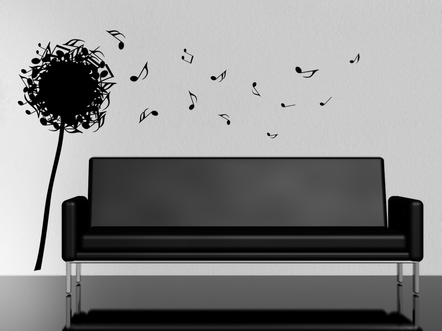 noten wandtattoo musikalische pusteblume von. Black Bedroom Furniture Sets. Home Design Ideas