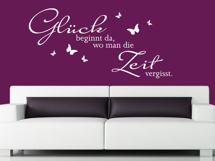 spruch wandtattoo gl ck beginnt sprichwort von. Black Bedroom Furniture Sets. Home Design Ideas