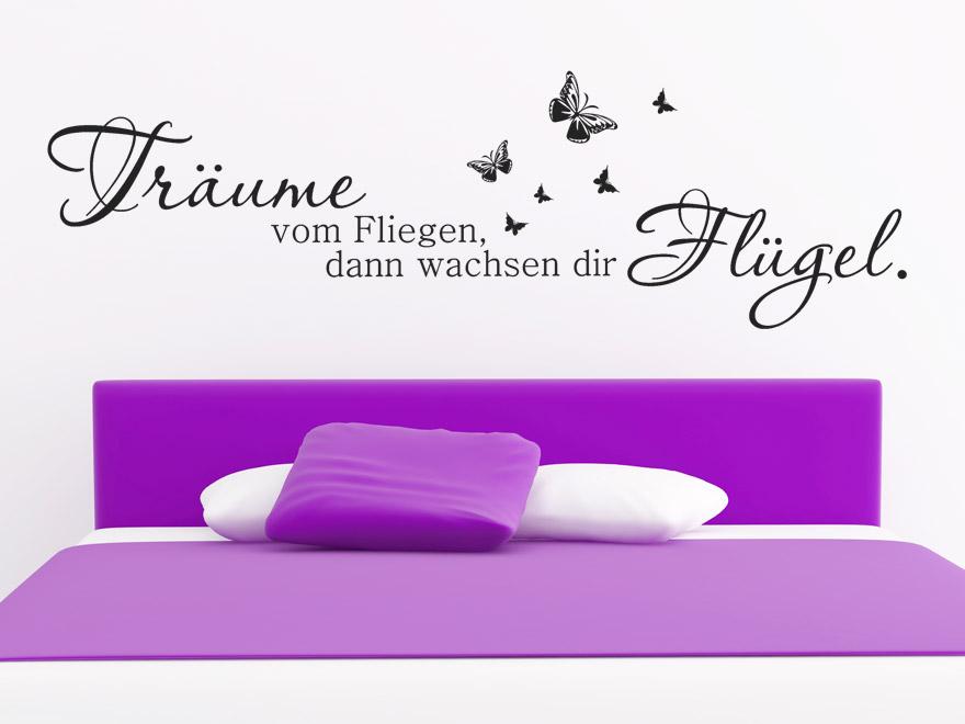 wandtattoo tr ume vom fliegen spruch von. Black Bedroom Furniture Sets. Home Design Ideas