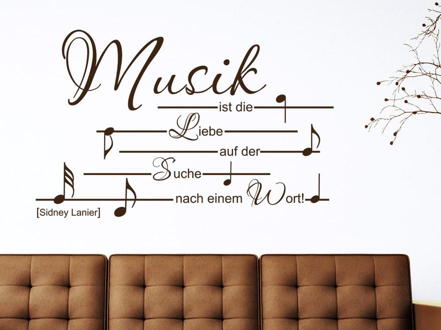 Verschnu00f6rkeltes Wandtattoo Zitat Musik ist... von ...