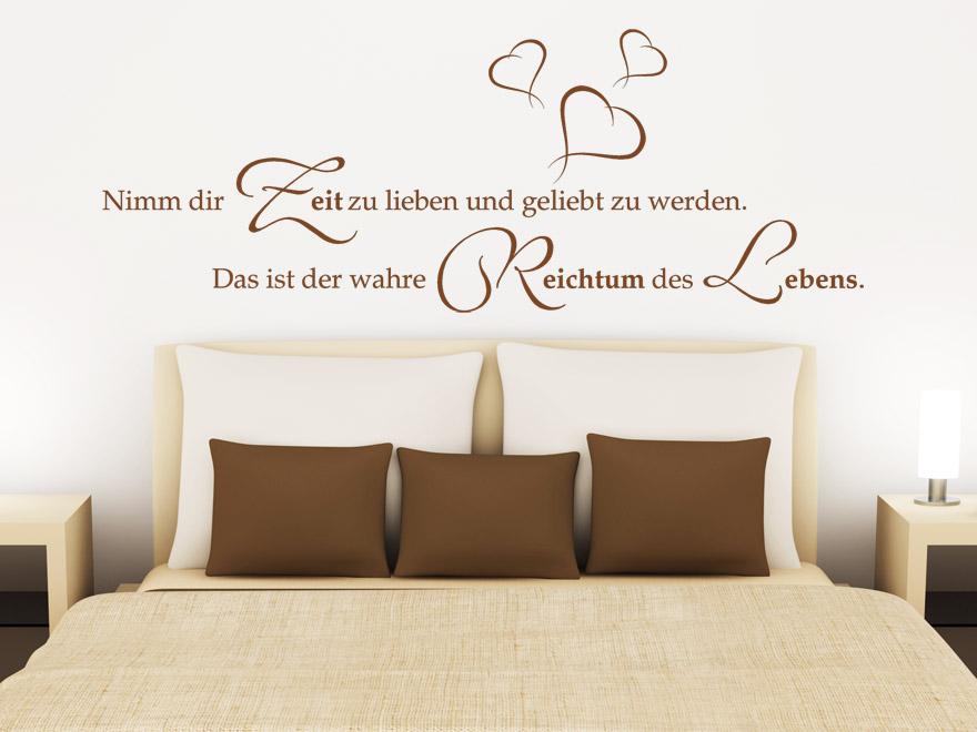 wandtattoo nimm dir zeit zu lieben spruch ber die. Black Bedroom Furniture Sets. Home Design Ideas