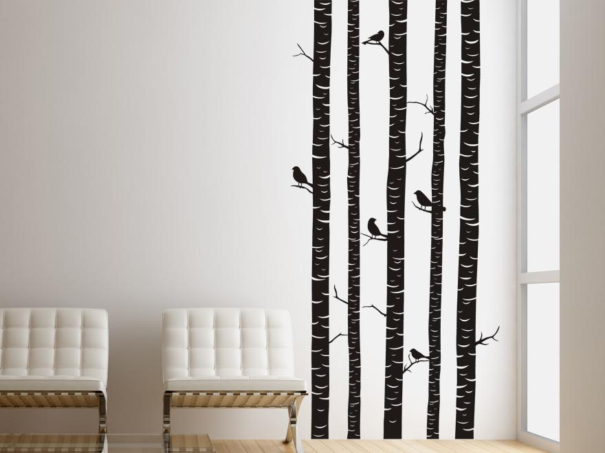Ausgefallenes Wandtattoo Baumstämme mit Vögeln von Wandtattoo.net