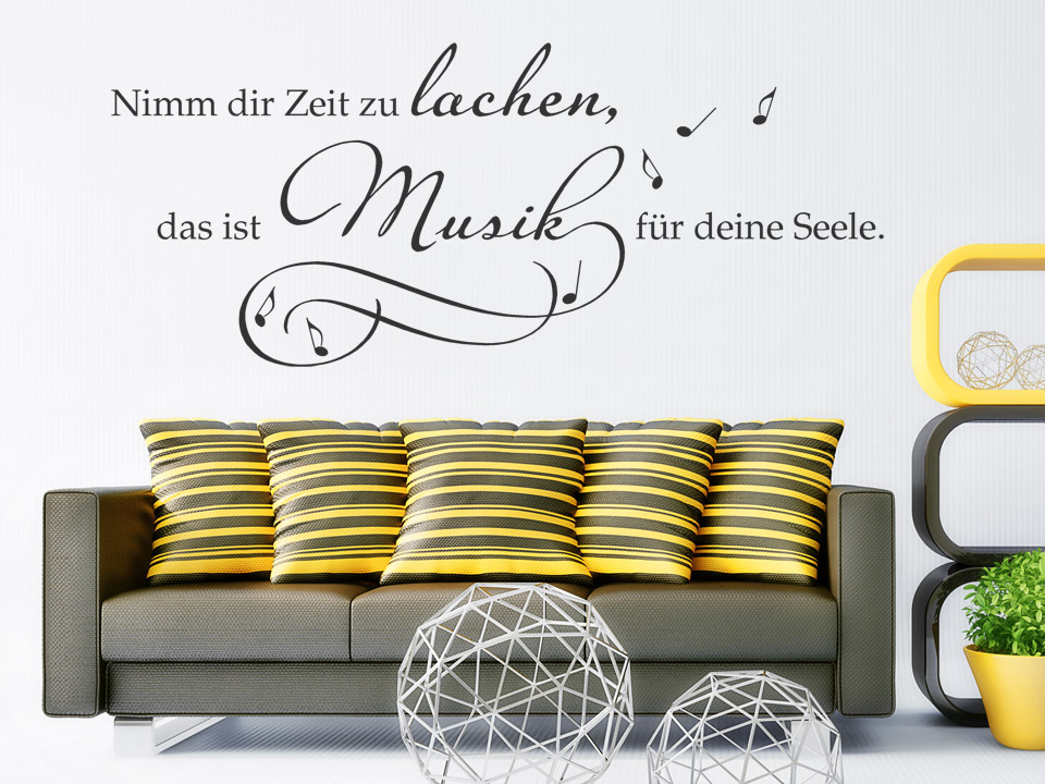 musik wandtattoo zeit zu lachen spruch von. Black Bedroom Furniture Sets. Home Design Ideas