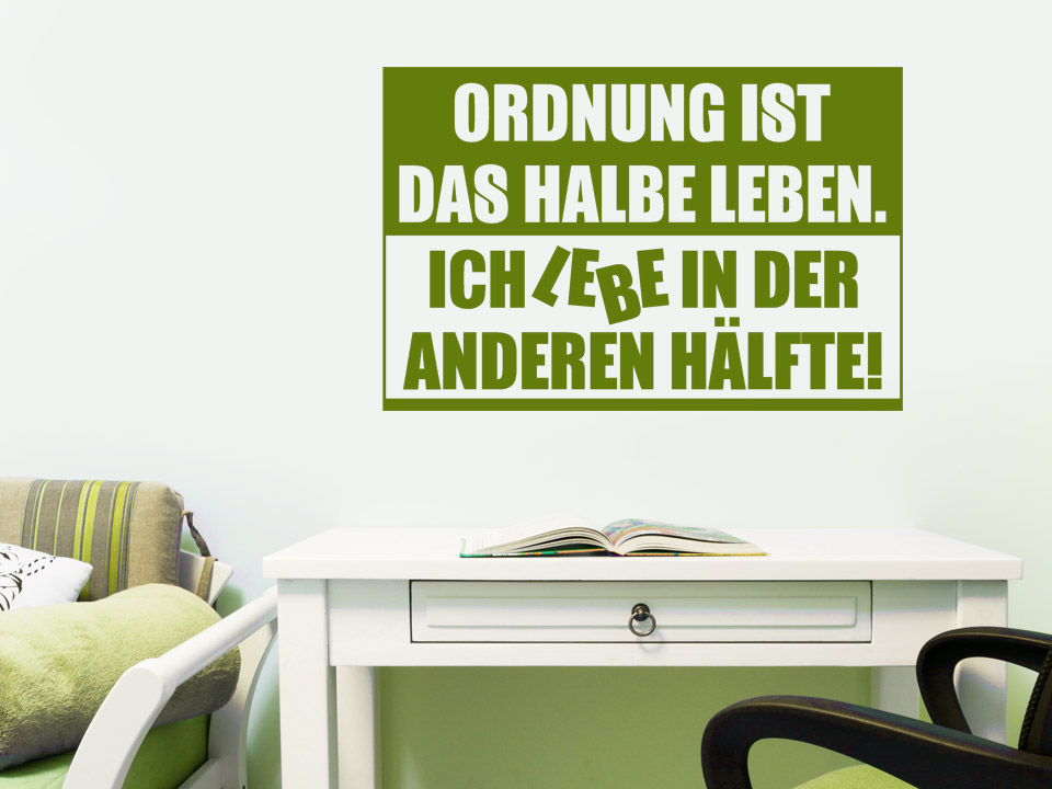 jugend wandtattoo ordnung ist spruch von. Black Bedroom Furniture Sets. Home Design Ideas