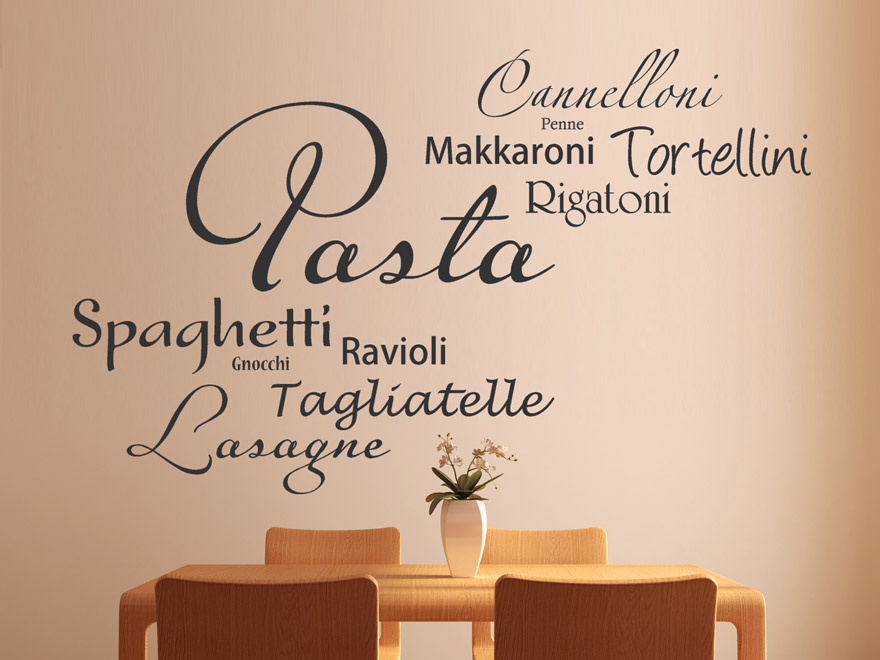 wandtattoo italienische pasta von. Black Bedroom Furniture Sets. Home Design Ideas