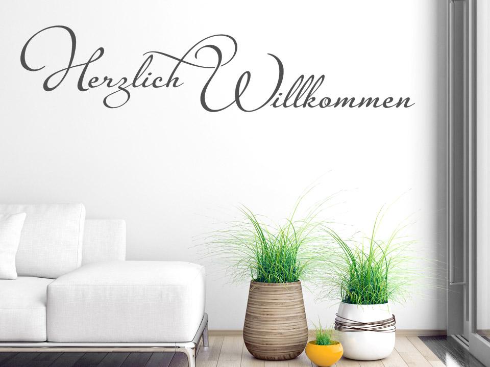 stylisches wandtattoo herzlich willkommen von. Black Bedroom Furniture Sets. Home Design Ideas